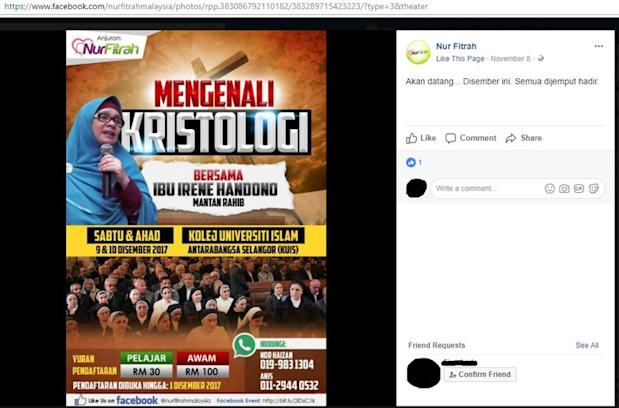 Screen shot of a Facebook posting by Nur Fitrah on November 8, 2017.