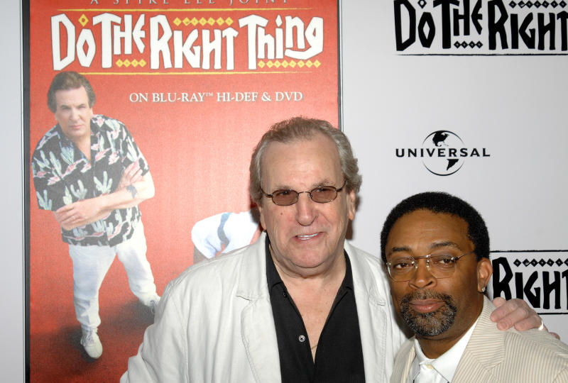 """FILE - In this Monday, June 29, 2009, file photo, director Spike Lee, right, and actor Danny Aiello attend a special 20th anniversary screening of """"Do the Right Thing,"""" in New York. (AP Photo/Peter Kramer, File)"""