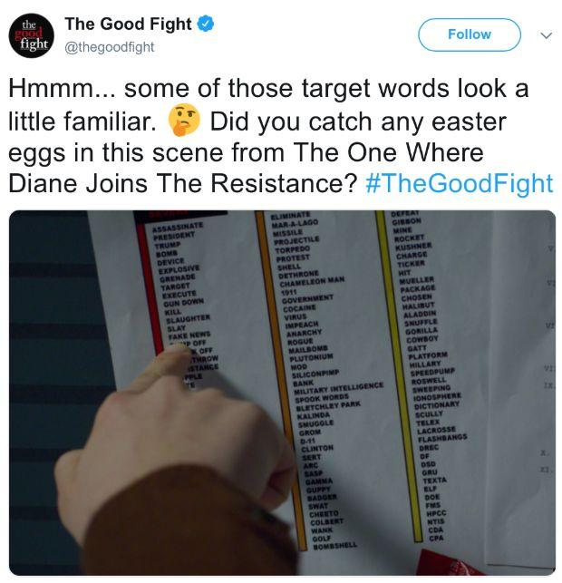 "This screenshot from at March 28 episode of ""The Good Fight"" is causing drama. (Image: Twitter)"