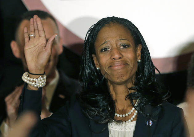 Republican Mia Love speaks with supporters after winning the race for Utah's 4th Congressional District during the Utah State GOP election night watch party, in Salt Lake City, Nov. 4, 2014. (AP Photo/Rick Bowmer)