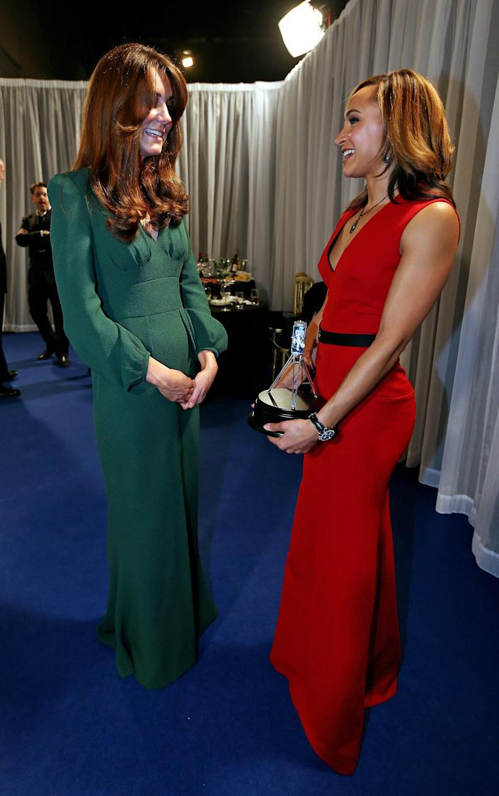 Kate, the Duchess of Cambridge, left, chats with second placed Sports Personality of the Year 2012, British athlete Jessica Ennis after the BBC Sports Personality of the Year Awards 2012 in London, Sunday Dec. 16, 2012. (AP Photo/David Davies, PA) UNITED KINGDOM OUT: NO SALES: NO ARCHIVE