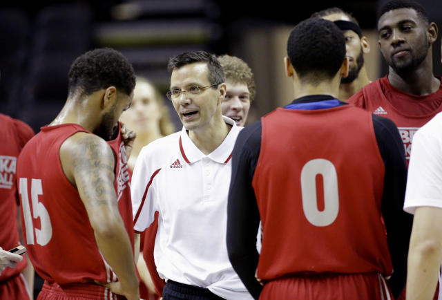 Nebraska coach Tim Miles, center, talks to his team during practice for the NCAA college basketball tournament in San Antonio, Thursday, March 20, 2014. Nebraska plays against Baylor in a second-round game on Friday. (AP Photo/David J. Phillip)