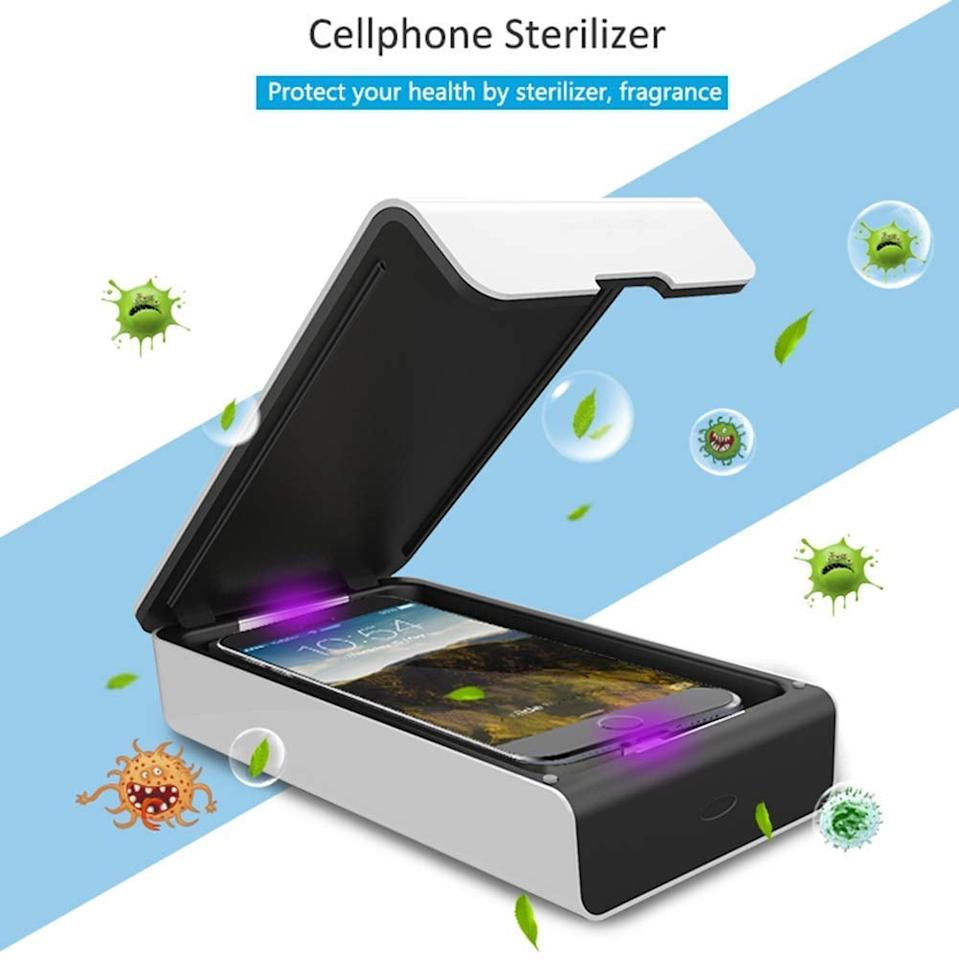 """<p>This <a href=""""https://www.popsugar.com/buy/UV-Cell-Phone-Sanitizer-557483?p_name=UV%20Cell%20Phone%20Sanitizer&retailer=amazon.com&pid=557483&price=45&evar1=savvy%3Aus&evar9=47316256&evar98=https%3A%2F%2Fwww.popsugar.com%2Fsmart-living%2Fphoto-gallery%2F47316256%2Fimage%2F47316368%2FUV-Cell-Phone-Sanitizer&list1=shopping%2Cgadgets%2Ccleaning%2Csmartphones%2Ctech%20shopping&prop13=mobile&pdata=1"""" rel=""""nofollow"""" data-shoppable-link=""""1"""" target=""""_blank"""" class=""""ga-track"""" data-ga-category=""""Related"""" data-ga-label=""""https://www.amazon.com/dp/B082VVZCRM/ref=dp_prsubs_1"""" data-ga-action=""""In-Line Links"""">UV Cell Phone Sanitizer</a> ($45) will clean your phone in just five minutes.</p>"""