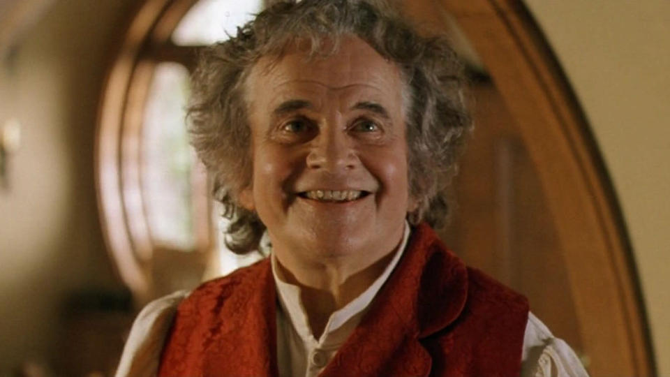 Ian Holm as Bilbo Baggins in 'Lord of the Rings: The Fellowship of the Ring'. (Credit: Warner Bros)