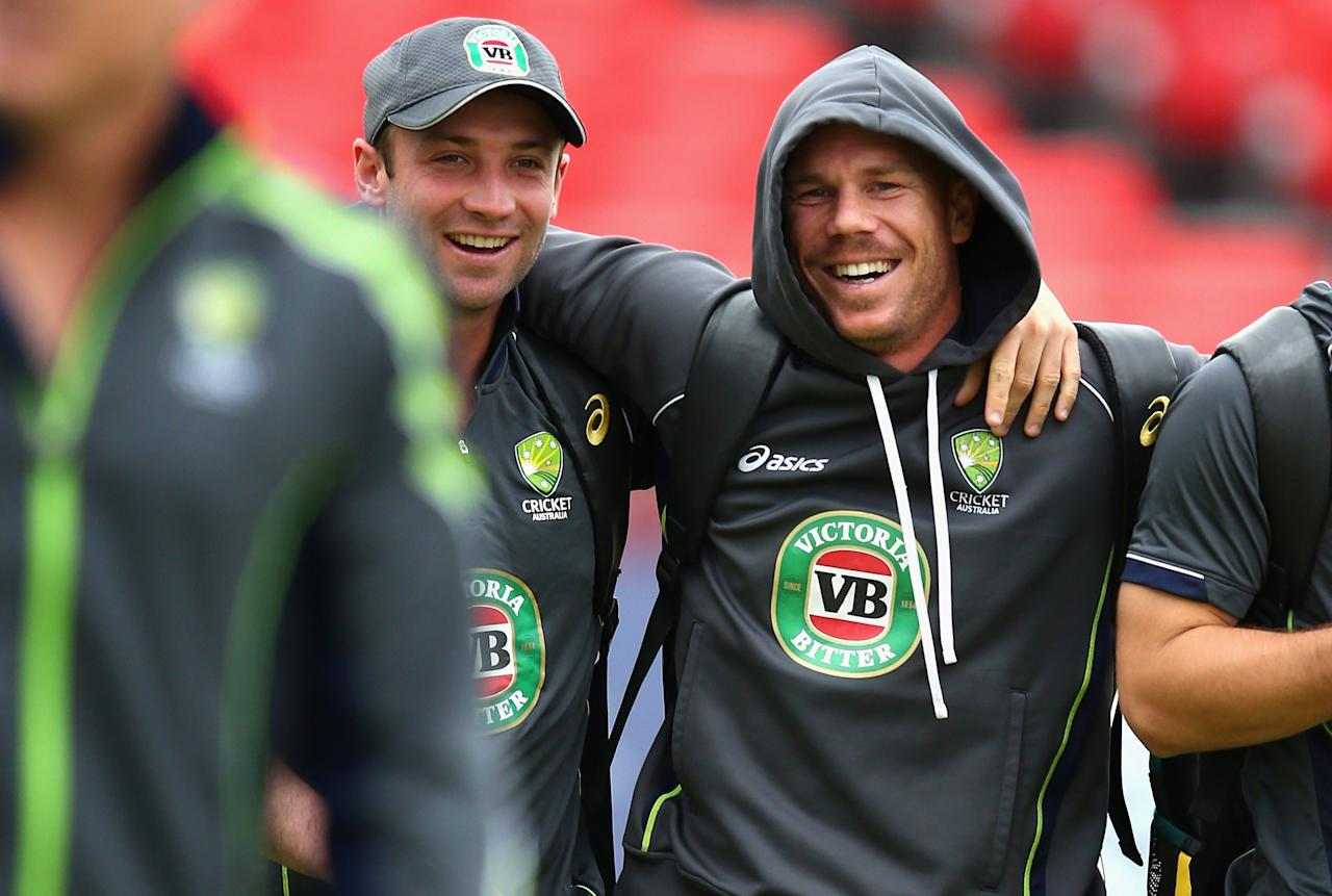MANCHESTER, ENGLAND - JULY 31:  Phil Hughes and David Warner of Australia arrive during an Australian Nets Session at Old Trafford on July 31, 2013 in Manchester, England.  (Photo by Ryan Pierse/Getty Images)