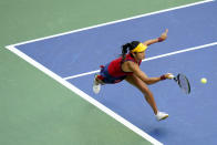 Emma Raducanu, of Britain, returns a shot to Leylah Fernandez, of Canada, during the women's singles final of the US Open tennis championships, Saturday, Sept. 11, 2021, in New York. (AP Photo/Frank Franklin II)
