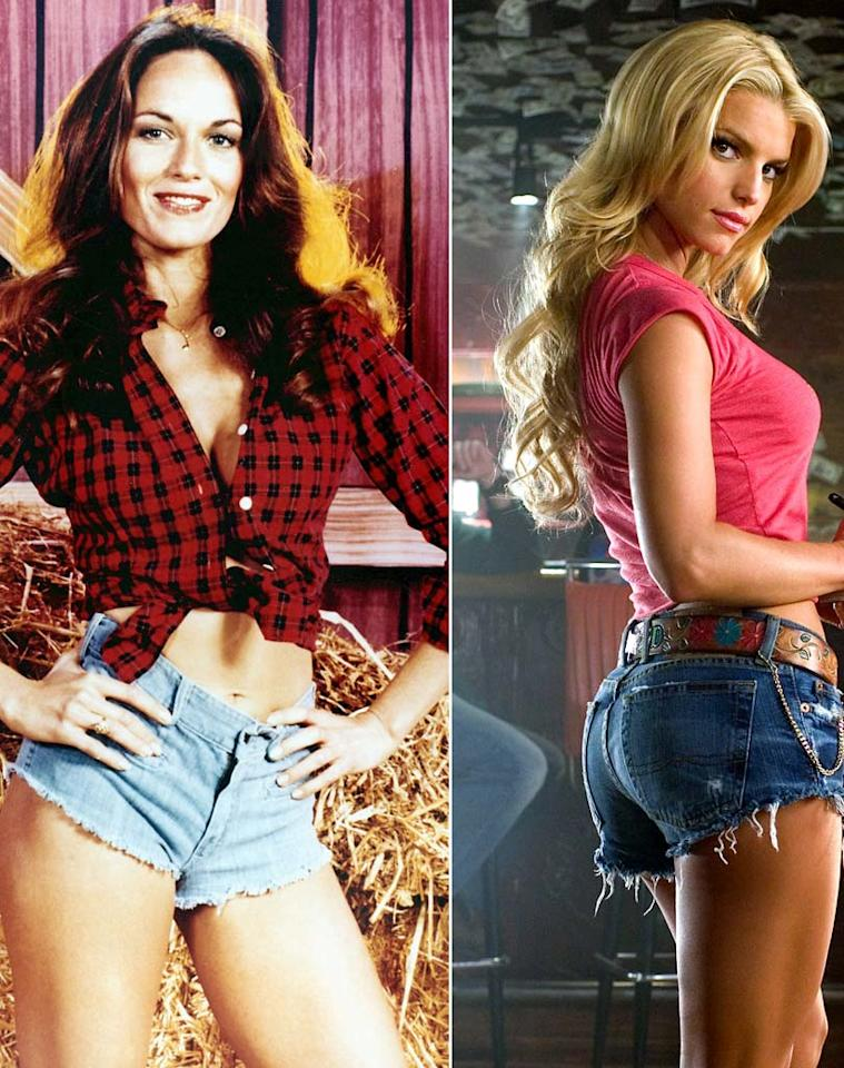"""<b>Catherine Bach and Jessica Simpson in """"The Dukes of Hazzard,"""" 1979 and 2005:</b> Named after the Duke boys' extremely persuasive cousin, Daisy Dukes require only the tiniest amount of denim and a whole lot of self-confidence. In fact, the micro-shorts were worn to such great effect by Catherine Bach on the 1979 TV series, that Jessica Simpson amped up her workout routine for the 2005 movie remake: """"I never had a butt before -- I had to do Daisy proud.""""   <b><a href=""""http://www.instyle.com/instyle/package/general/photos/0,,20185823_20400708_20807505,00.html?xid=omg-kardashian-curvy-tips?yahoo=yes"""" target=""""new"""">Kim Kardashian's Tips for Dressing a Curvy Body</a></b> Warner Brothers/Courtesy Everett"""