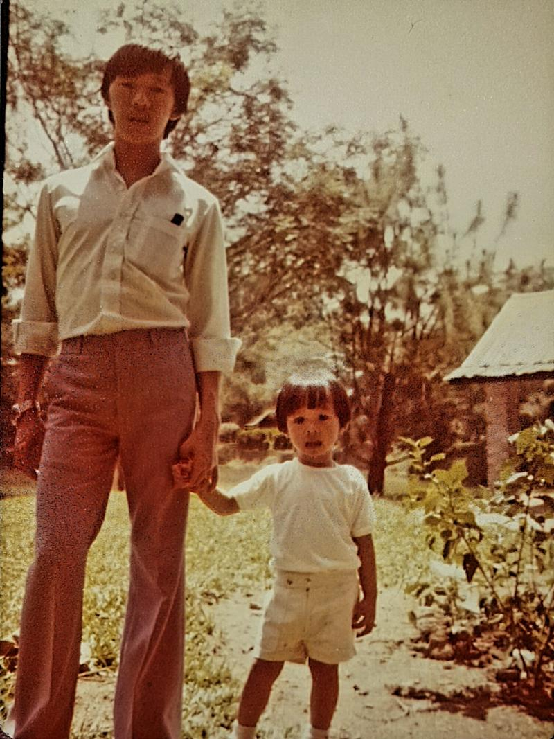 Gilbert Ong posing with his father. (PHOTO: Gilbert Ong)