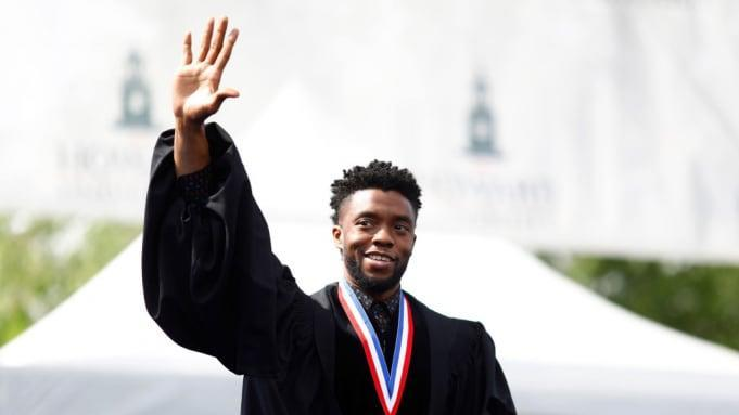 Actor Chadwick Boseman delivers commencement speech at Howard University in 2018. (Credit: Justin Knight)