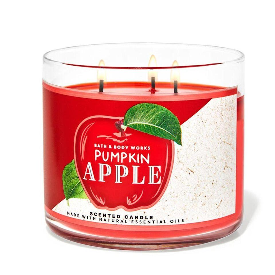 """<p><strong>Bath & Body Works</strong></p><p>bathandbodyworks.com</p><p><strong>$24.50</strong></p><p><a href=""""https://www.bathandbodyworks.com/p/pumpkin-apple-3-wick-candle-026299254.html"""" rel=""""nofollow noopener"""" target=""""_blank"""" data-ylk=""""slk:Shop Now"""" class=""""link rapid-noclick-resp"""">Shop Now</a></p><p>We'd be remiss not to give the ultimate destination for all scented treats, Bath & Body Works, a mention here. This is the candle to spark when you just can't decide between apple or pumpkin pie — they're both perfect!</p><p>This three-wick candle is slightly more apple-forward but is nicely balanced by the pumpkin, cinnamon, and clove, making it a toasty-warm delight. </p>"""