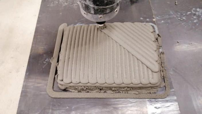 FILE PHOTO: Concrete being 3D printed in lobster-inspired patterns at an RMIT lab in Melbourne