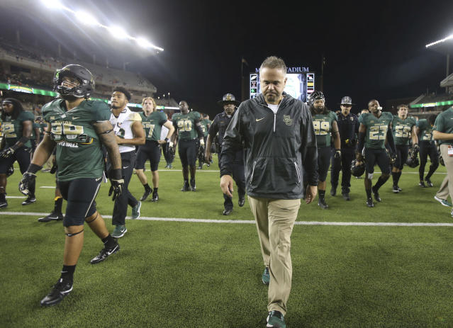 Baylor coach Matt Rhule walks off the field following the team's 17-10 loss to UTSA in an NCAA college football game, Saturday, Sept. 9, 2017, in Waco, Texas. (Jerry Larson/Waco Tribune Herald, via AP)