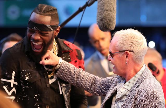 Deontay Wilder with Paul Gascoigne ringside in Belfast earlier this month. Action Images via Reuters