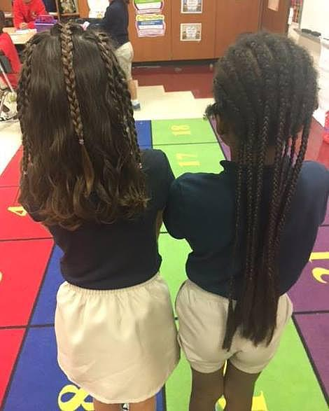 """""""She wanted to take a picture with her best friend this morning because they were twins."""" <em>(Photo: Facebook/Brigette Diez Kerr) </em>"""