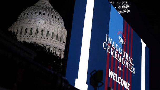 PHOTO: A jumbotron is seen ahead of the inauguration of U.S. President-elect Joe Biden on the West Front of the Capitol on Jan. 20, 2010 in Washington, D.C. (Alex Wong/Getty Images)