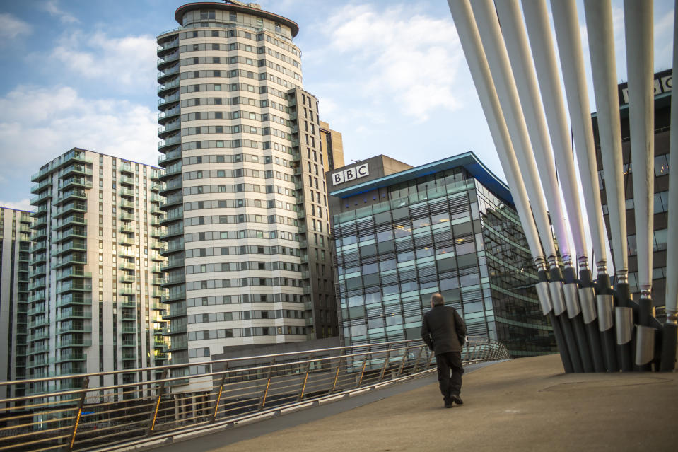 SALFORD, ENGLAND - MARCH 25: General view of the BBC television and radio studios at Media City on March 25, 2020 in Salford, England. (Photo by Anthony Devlin/Getty Images)