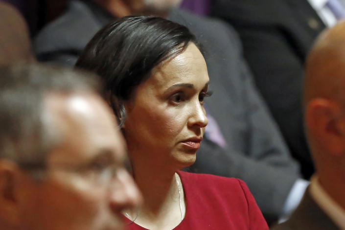 FILE - In this Nov. 6, 2019, file photo, California Republican Party chairwoman Jessica Millan Patterson listens during a hearing in Sacramento, Calif. A three-day convention of Republican party delegates that starts Friday, Sept. 24, 2021, will be anchored by a noontime speech by party Chairwoman Jessica Millan Patterson. (AP Photo/Rich Pedroncelli, Pool, File)