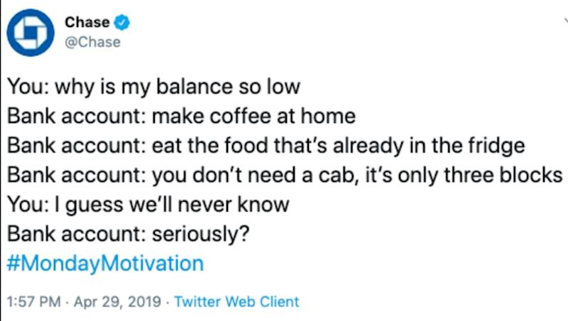 Chase's Advice To Scrimp On Java, Food, Taxis Riles Twittersphere 05/01/2019