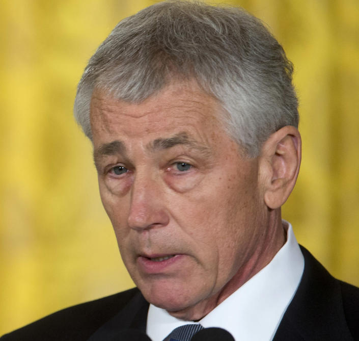FILE - This Jan. 7, 2013 file photo shows former Nebraska Sen. Chuck Hagel, president Barack Obama's choice for defense secretary, speaking in the East Room of the White House in Washington. (AP Photo/Carolyn Kaster, File)