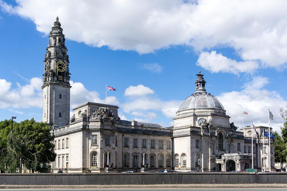 Town Hall in Cardiff Wales at blue sky
