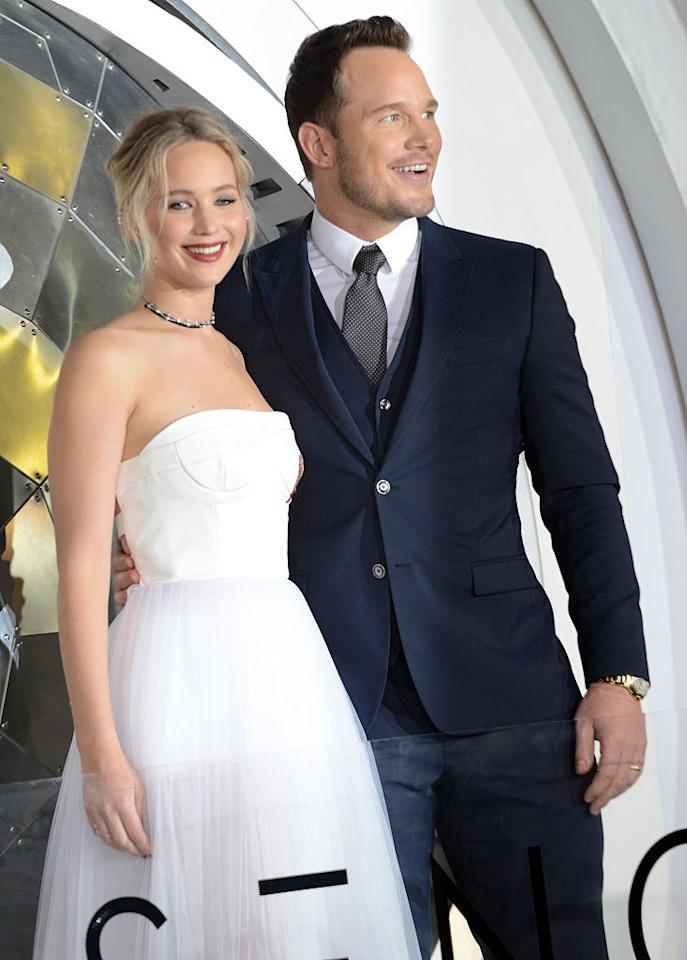<p>The two play Aurora and Jim, who are on their way to a far-off space colony when something happens aboard their ship. (Photo: Getty Images) </p>