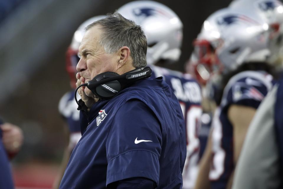 New England Patriots head coach Bill Belichick has seen his team slip in the second half of this season. (AP Photo/Elise Amendola)