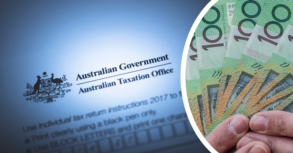 The Australian Taxation Office letter head and a person holding $100 notes