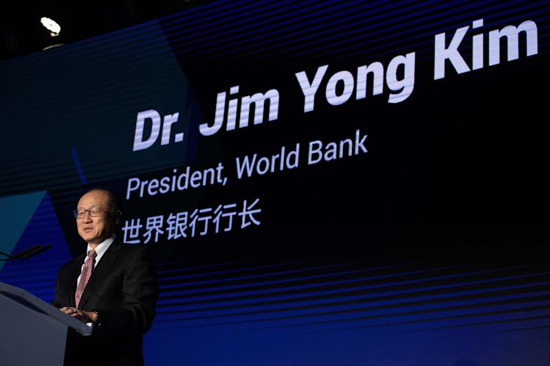 """World Bank President Jim Yong Kim delivers a speech during the """"reinvented toilet expo"""" in Beijing on Nov. 6, 2018. (Photo: Nicolas Asfouri/AFP/Getty Images)"""