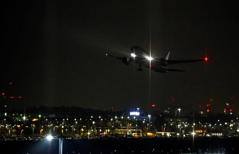 An aircraft takes off at Heathrow Airport in London