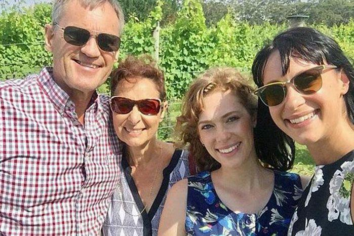 (From left) Lars, Vivian, Annabelle and Jessica Falkholt smile during their Christmas Day celebrations - one day before they were involved in a horrific car crash on the NSW coast. Source: Facebook