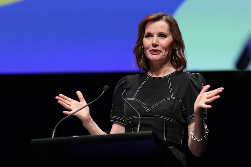 Geena Davis speaks during The Power Of Inclusion Summit 2019 in Auckland, New Zealand. (Photo by Michael Bradley/Getty Images for New Zealand Film Commission)