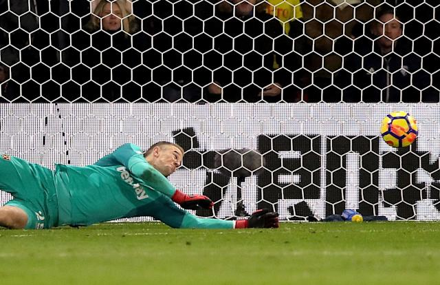 West Ham United goalkeeper Joe Hart dives as Watford's Richarlison's (not in picture) shot goes in the net for his side's second goal
