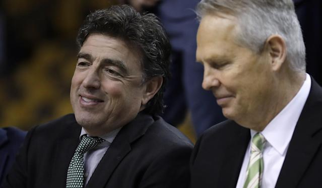 Celtics owner Wyc Grousbeck (left) and president of basketball operations Danny Ainge might have different perspectives on what to do with the No. 1 pick in the draft. (AP)