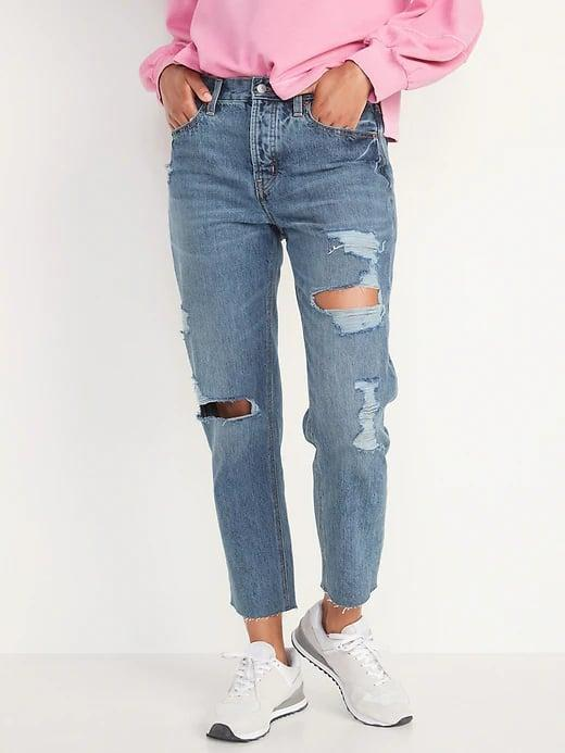 <p>Pair the 100 percent cotton <span>Old Navy High-Waisted Slouchy Straight Cropped Ripped Light-Wash Jeans</span> ($50) with your favorite tee or sweatshirt this season.</p>