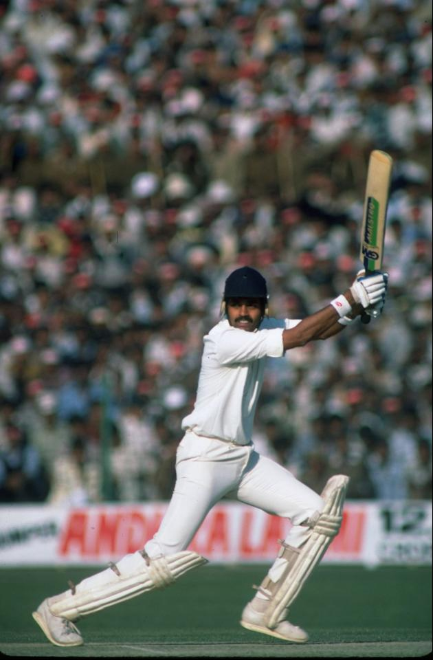5 Feb 1985:  Dilip Vengsarkar of India in action during the Fifth Test match against England at Green Park in Kanpur, India. The match ended in a draw. \ Mandatory Credit: Adrian  Murrell/Allsport