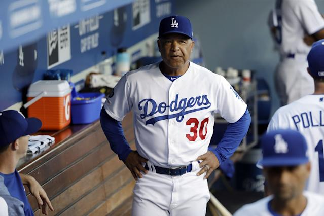"Dodgers manager Dave Roberts had some tough choices picking a lineup for the SoCal team in the I-5 series. <span class=""copyright"">(Marcio Jose Sanchez / Associated Press)</span>"