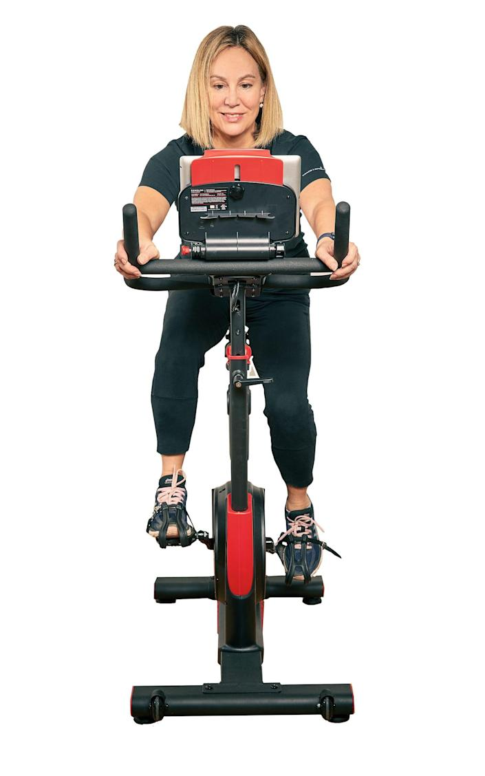 Ready to go: The bike is easy to use – and doesn't require special spin shoes - Owen Harvey