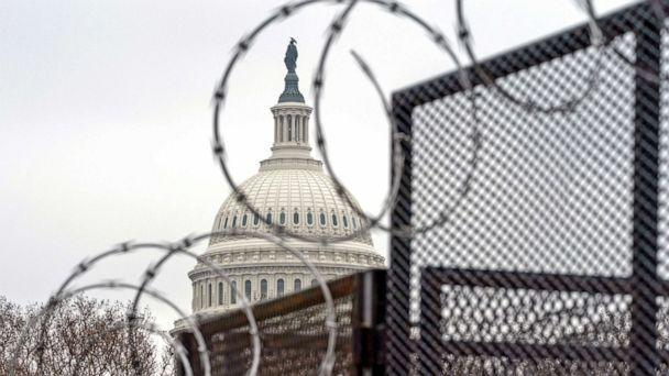 PHOTO: Razor wire tops the anti-scaling fence surrounding the perimetter of the U.S. Capitol, Feb. 11, 2021, in Washington, D.C.  (Alex Brandon/AP)