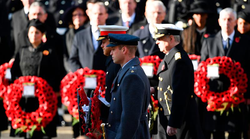 Prince Harry and Prince William lay a wreath during the Remembrance Sunday ceremony at The Cenotaph in central London on Nov. 10, 2019.