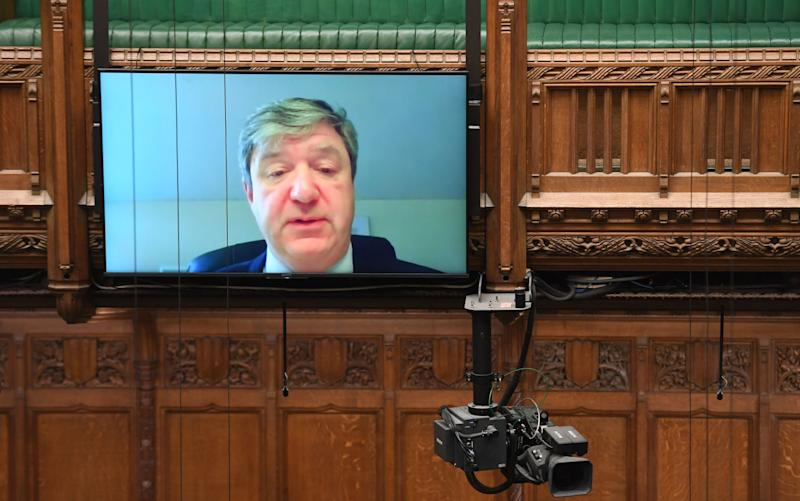 Liberal Democrat Alistair Carmichael asking an Urgent Question via video link to the Leader of the House - PA