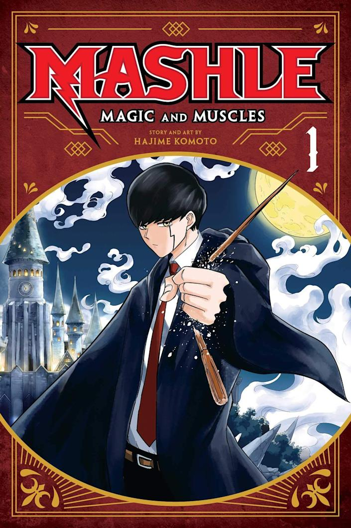 The cover for Mashle: Magic and Muscles shows a young wizard with a wand in front of a magical background