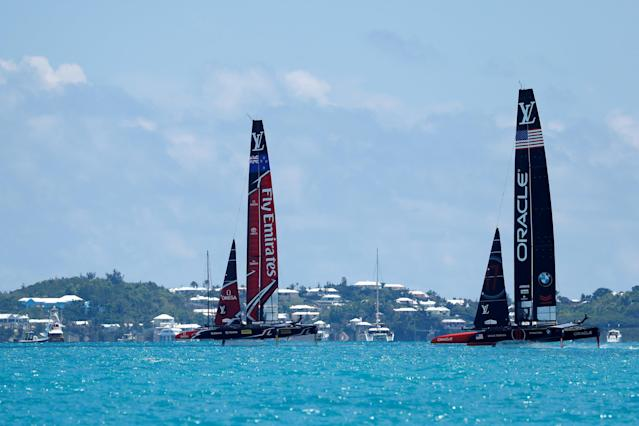 Sailing - America's Cup finals - Hamilton, Bermuda - June 26, 2017 - Emirates Team New Zealand leads Oracle Team USA in race nine of America's Cup finals. REUTERS/Mike Segar