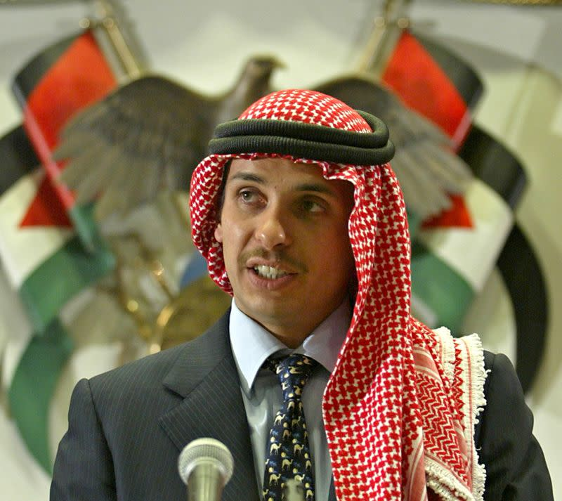 FILE PHOTO: Jordan's Crown Prince Hamza bin Hussein delivers a speech in Amman