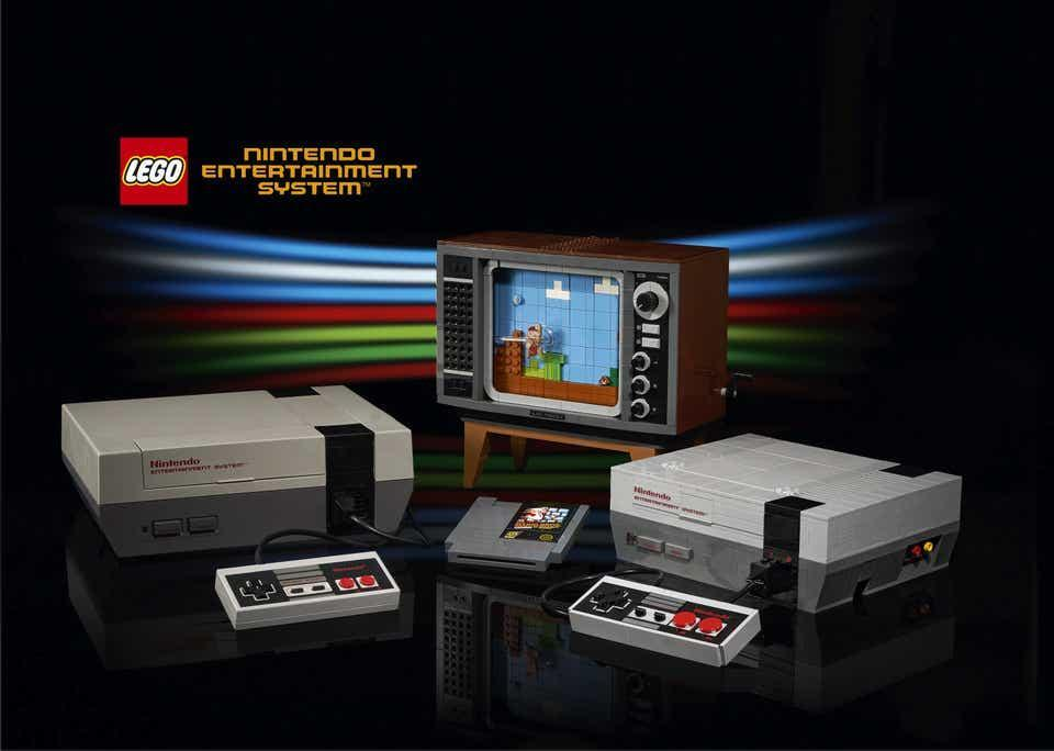 The Lego Nintendo Entertainment System, controller, and replica television (R) next to its inspiration, the original NES (L)