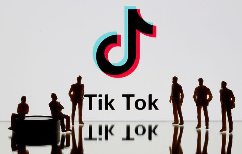 FILE PHOTO: A 3-D printed figures are seen in front of displayed Tik Tok logo in this picture illustration