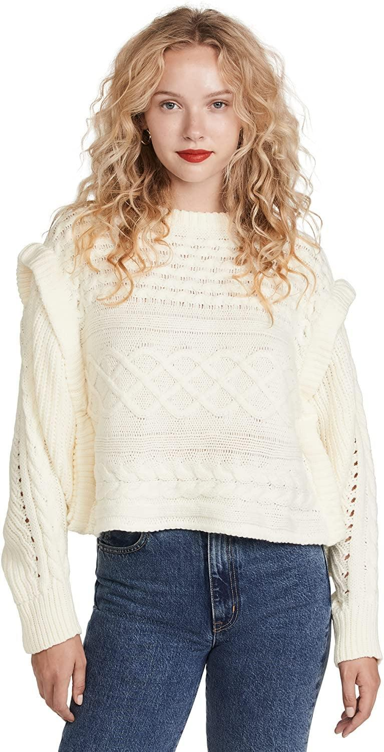 <p>We'd wear this <span>Line and Dot Women's McKenzie Balloon Sleeve Sweater</span> ($99) with dark jeans and chunky brown boots all the way through December.</p>