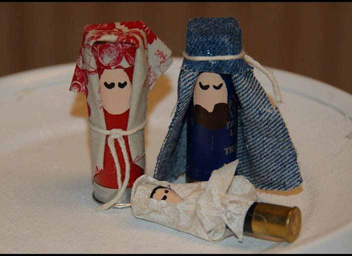 """If there is a person in your life whose favorite religious ditty is """"Praise The Lord And Pass The Ammunition,"""" this nativity made from shotgun shells is sure to hit the bullseye."""