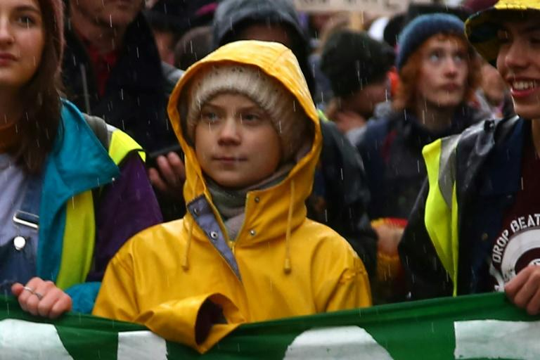 Swedish climate activist Greta Thunberg takes part in a climate strike in Bristol, southwest England