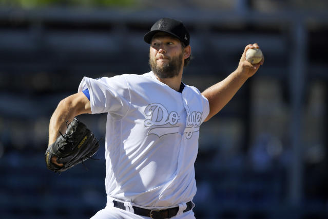 Los Angeles Dodgers starting pitcher Clayton Kershaw throws to the plate during the first inning of a baseball game against the New York Yankees Sunday, Aug. 25, 2019, in Los Angeles. (AP Photo/Mark J. Terrill)