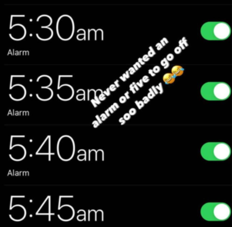 Pictured here, David Warner's Instagram story about setting five alarms.